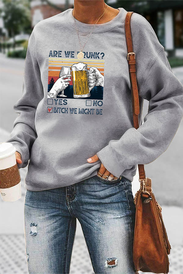 ARE WE DRUNK Letter Wine Glass Cheers Print Women Casual T-shirt