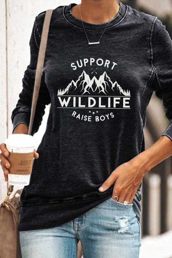 Support Wild Life Raise Boys Letter Mountain Print Casual Women T-shirt