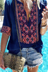 Paneled Floral Print Plunging Neck Casual T-shirt