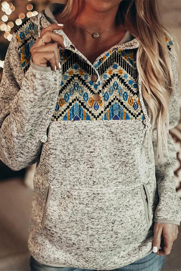 Ethnic Street Geometric AZTEC Jacquard Buttoned Color-block Drawstring Hoodie