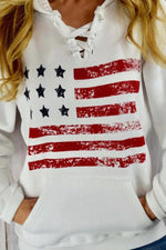 Sports American Flag Print Lace Up Pocket Front Shift Hoodie