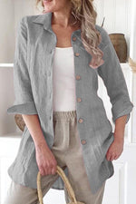 Solid Long Sleeves Buttoned Blouses