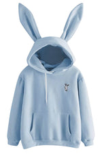 Sweety Rabbit Embroidery Ear Drawstring Pocket Front Solid Fleece Hoodie