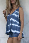 Striped Print Sling Sleeveless Casual Blouse