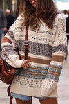 Hollow Out Color Block Knitted Sweaters