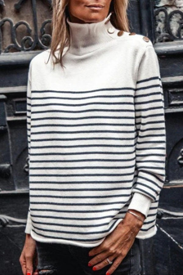 Street Striped Jacquard Buttoned Turtle Neck Knitted Ribbed Sweater