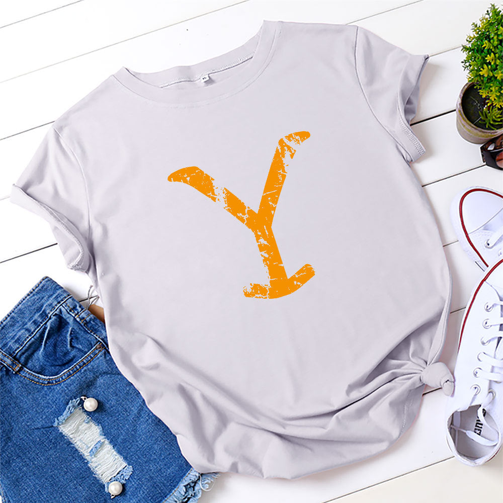 Casual Yellow Stone Print Short Sleeve O-Neck T-Shirt