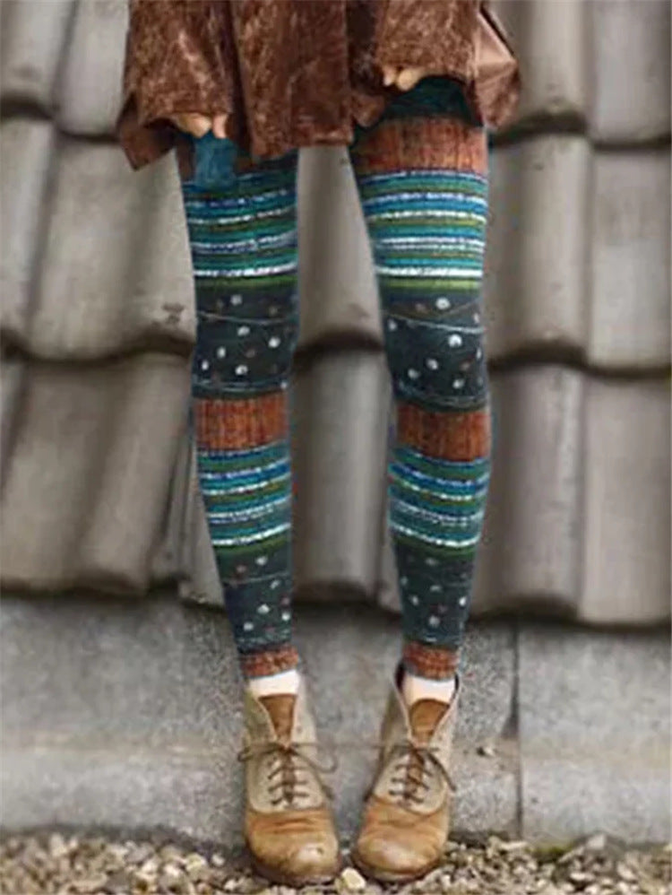 Holiday Colorful Striped Spots Print Color Block Long Leggings