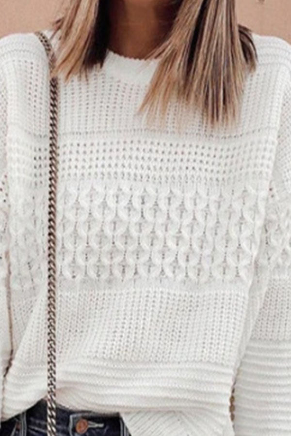 Temperament Solid White Knitted Ribbed Spiral Tweed Sweater