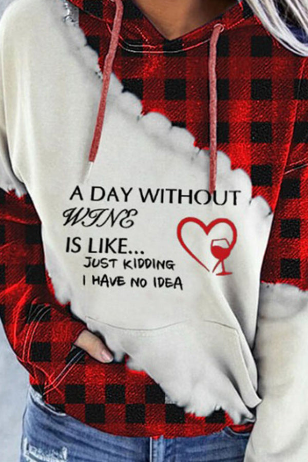 A Day Without Wine Is Like Just Letter Plaid Heart Shaped Wineglass Print Drawstring Holiday Hoodie