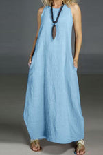 Basic Linen Solid Sleeveless Maxi Shift Dress