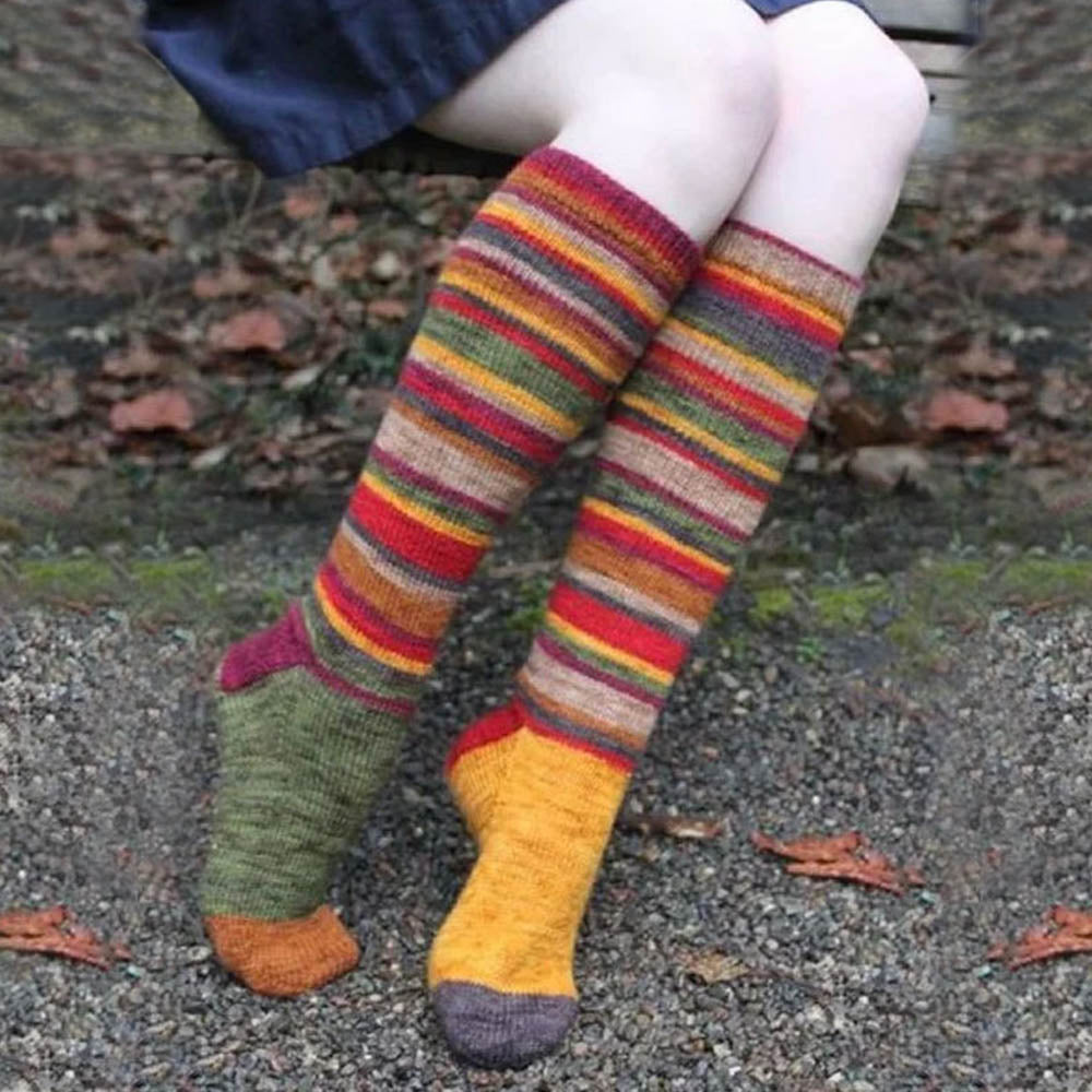 Colorful Striped Jacquard Knitted Holiday Sweety Stockings