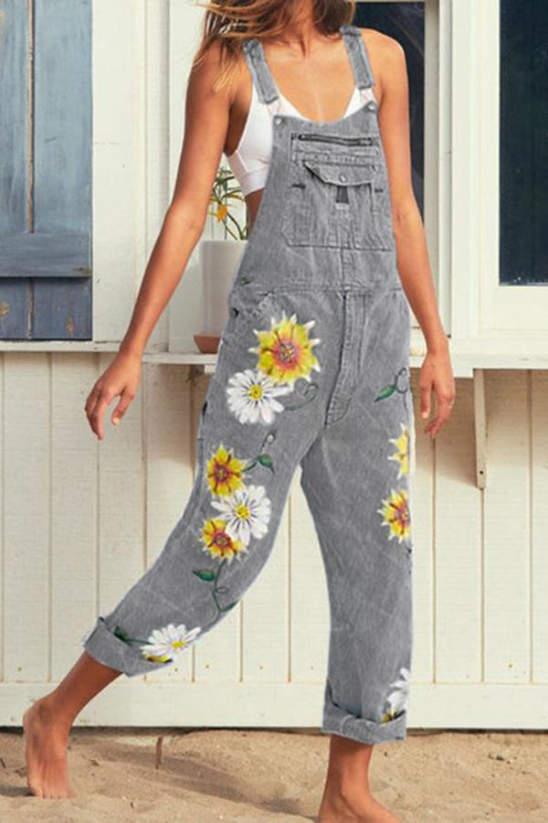 Casual Print Embroidery Sling Jumpsuits
