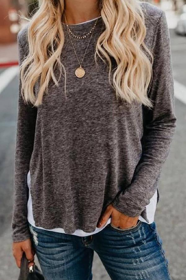 Solid Crew Neck Casual Slit Blouse