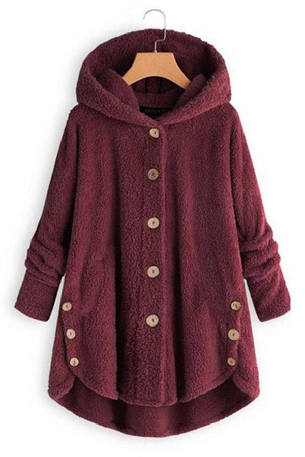 High Low Velvet Buttoned Hoodies Coat