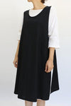 Home Linen Solid Apron Midi Dress