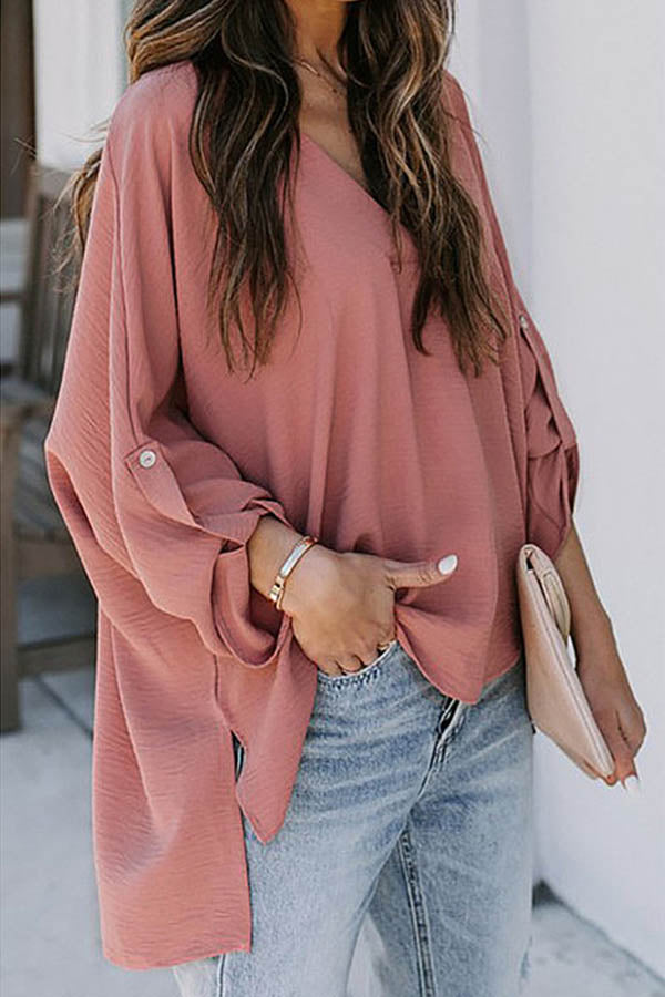Casual Women Solid Buttoned V-neck Slit High Low Hem Blouse