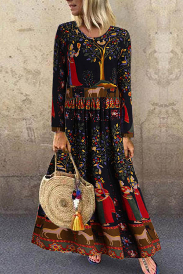 Ethnic Retro Floral Print Paneled Pleated A-line Maxi Dress