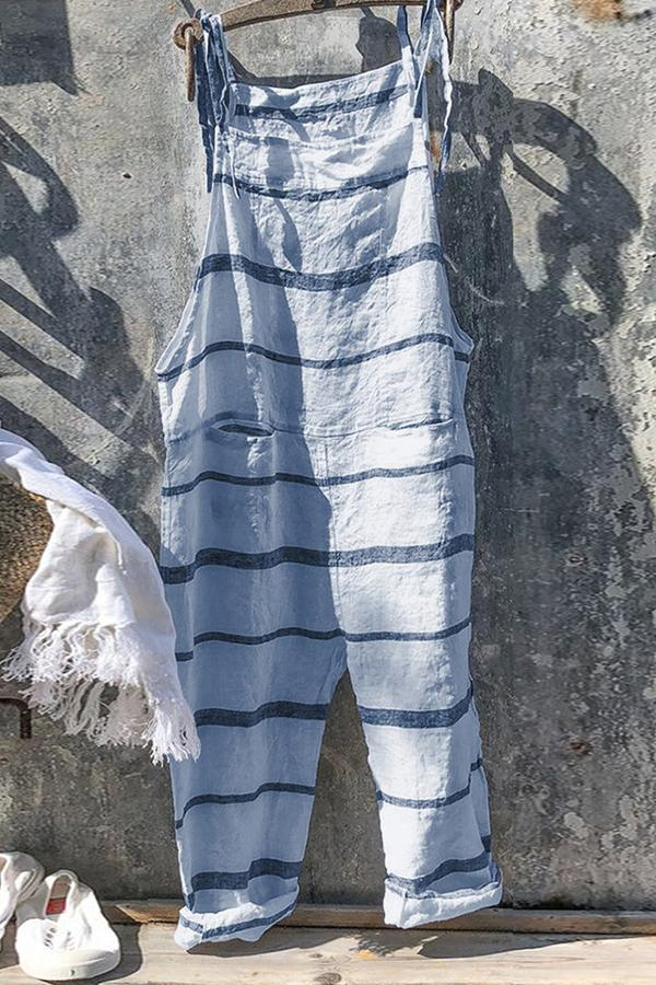 Casual Tie-up Stripe Linen Jumpsuit