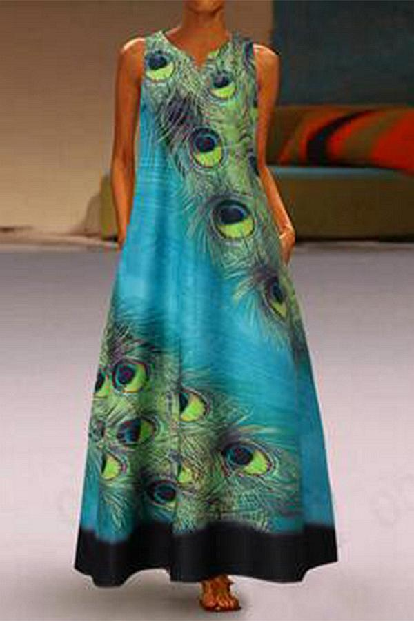 Peacock Feather Print V Neck Sleeveless Dress