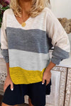 Stripe V Neck Casual Colorblock T Shirt