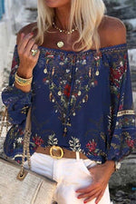 Bohemian Floral Print Balloon Sleeves Off Shoulder Chiffon Blouse
