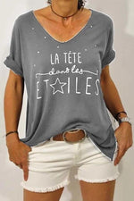 Casual Letter Short Sleeves Round T Shirt