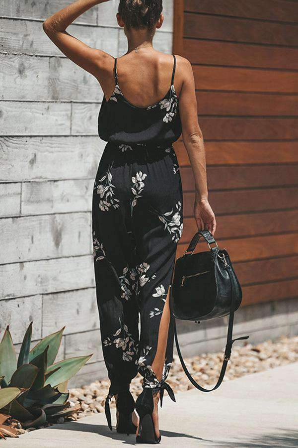 Casual Spaghetti Cross Front Tie-up Slit Jumpsuit