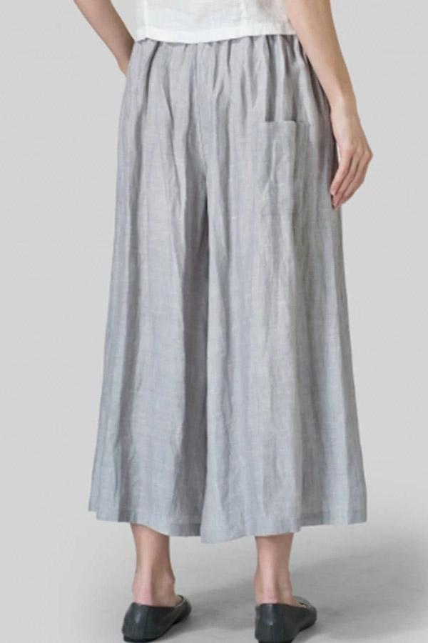 Casual Linen Side Pockets Pants