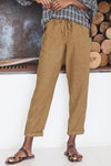 Solid Self-tie Casual Paneled Side Pockets Pants