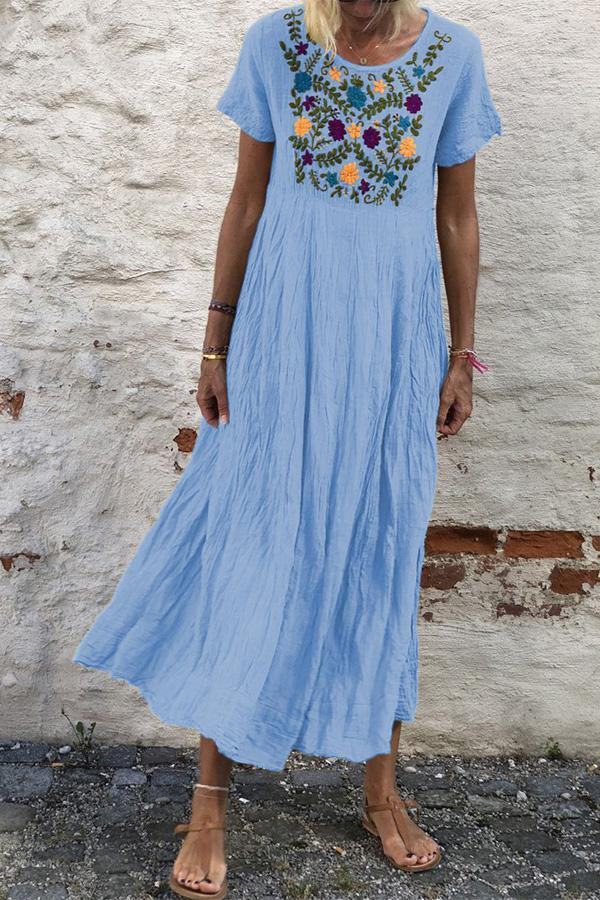 Vintage Embroidery Crew Neck Linen Dress