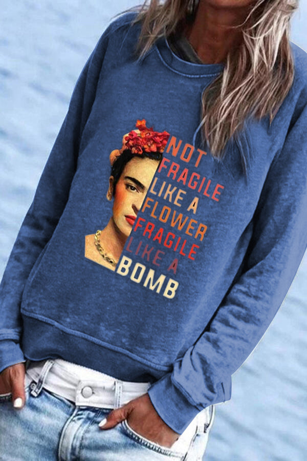 Frida Kahlo Paneled Not Fragile Like A Flower Fragile Like A Bomb Print T-shirt