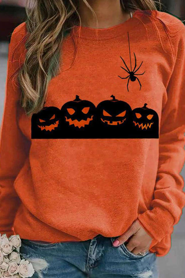 Happy Halloween Pumpkin Smile Face Bat Print Party T-shirt