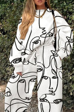 Artistic Character Abstract Print Sweatshirt With Drawstring Wide Leg Pants Two-Pieces Set