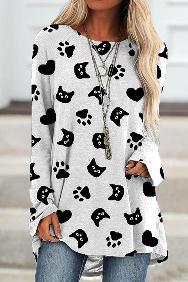 Sweety Funny Cat With Footprint Heart Shaped Print Raglan Sleeves Shift T-shirt