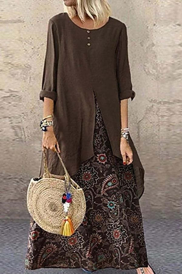 Long Sleevesl Vintage Floral Maxi Dress