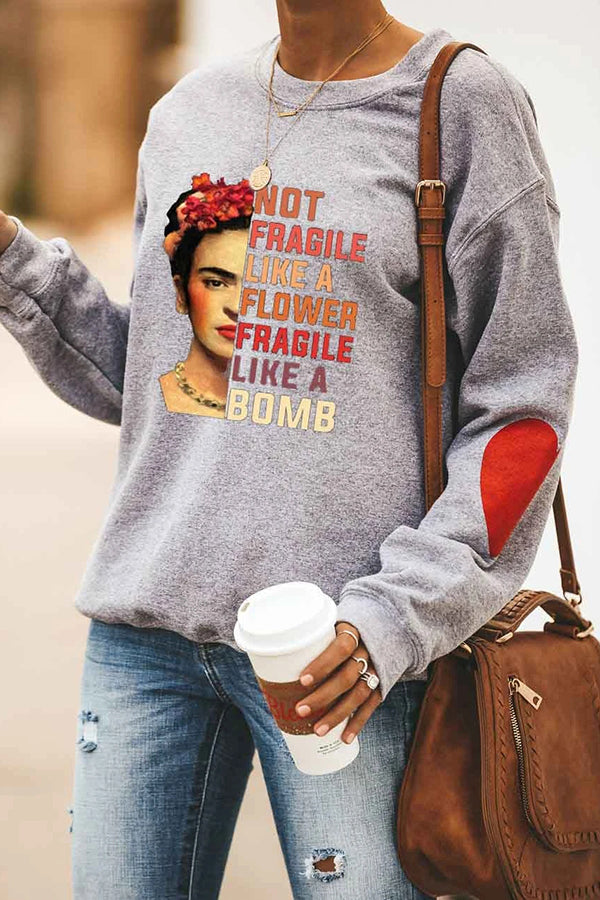 Frida Kahlo Painting Paneled Letter Flower On Head Print Sweatshirt