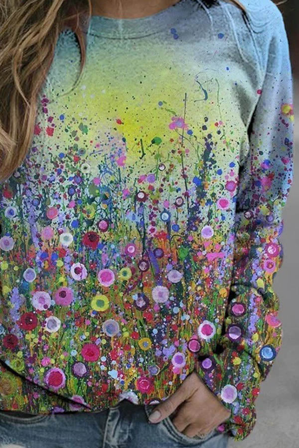 Artistic Abstract Colorful Spots Floral Gradient Painting Print Raglan Sleeves Shift T-shirt