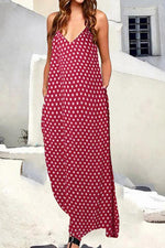 Polka Dots Print Sling V-neck Sleeveless Holiday Maxi Dress