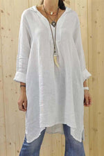 Asymmetric Solid Long Sleeves Linen Blouses