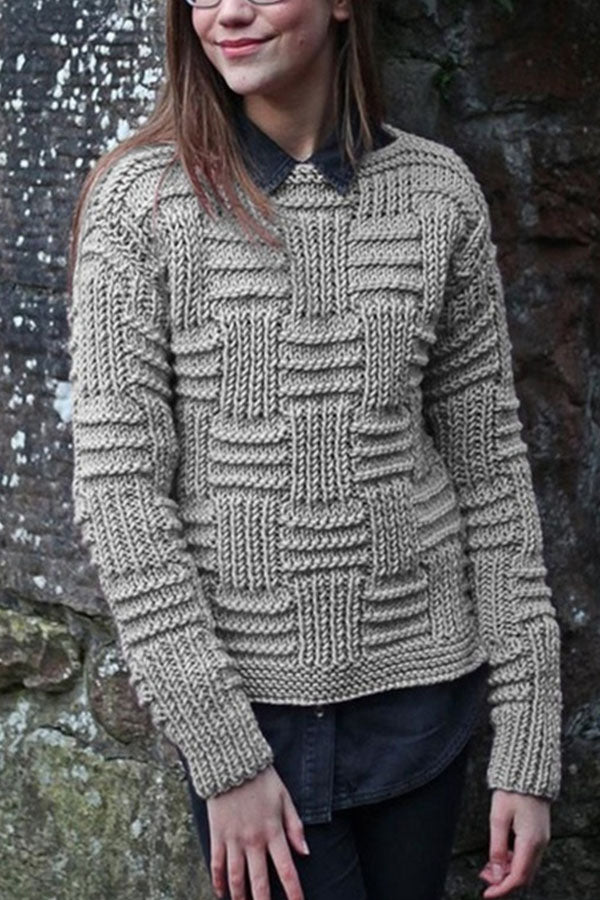 Asymmetric Striped Tweed Ribbed Knitted Daytime Sweater