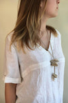 Casual Solid V Neck Linen Blouse