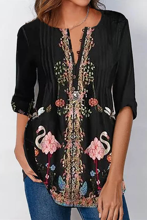 Elegant Crane Floral Print Buttoned V-neck Pleated Sheath Half Sleeves Blouse