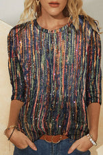 Trendy Mixed Color Striped Print Long Sleeves Shift T-shirt