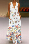 Butterfly Printed V Neck Shift  Boho Maxi Dress