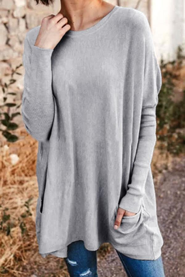 Casual Long Sleeves Loose Pockets Solid T-shirts