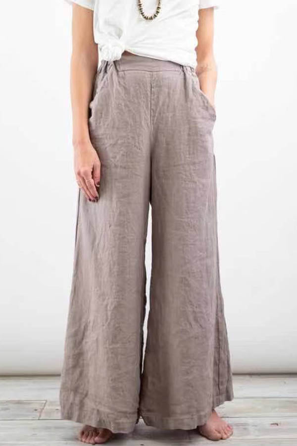Simple Solid Pockets Long Wide Leg Pants