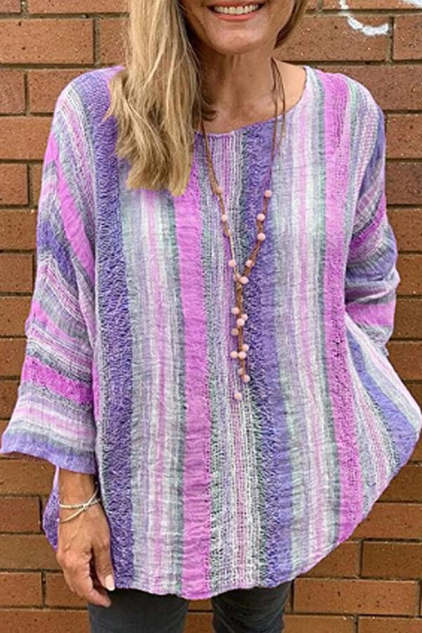 Casual Colorful Stripe Print Hollow Out Long Sleeves Blouse