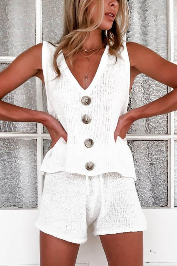 Solid Knitted Tank Top With Pants Two-pieces Set