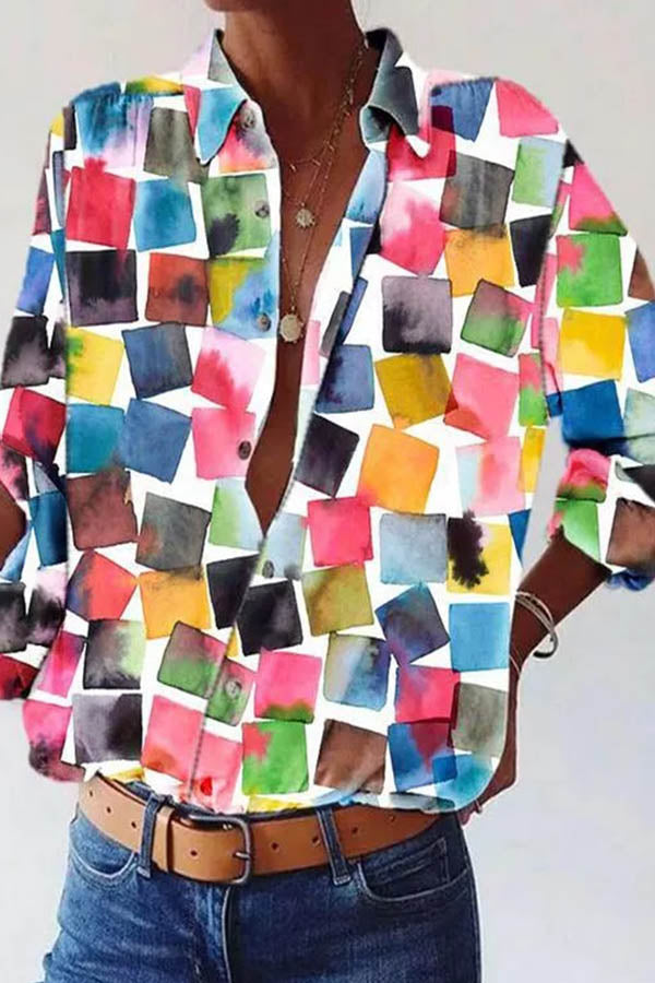 Colorful Gradient Square Geometric Print Street Holiday Buttoned Blouse